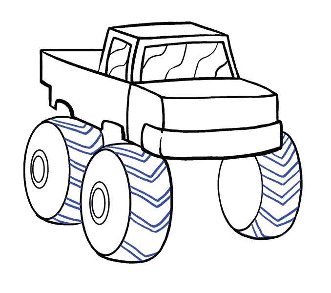 How to Draw Monster Truck: Step 13
