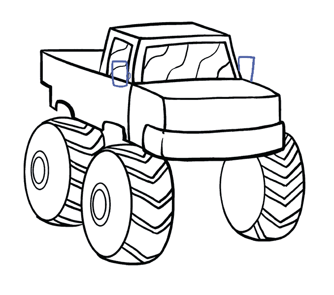 How to Draw Monster Truck: Step 14