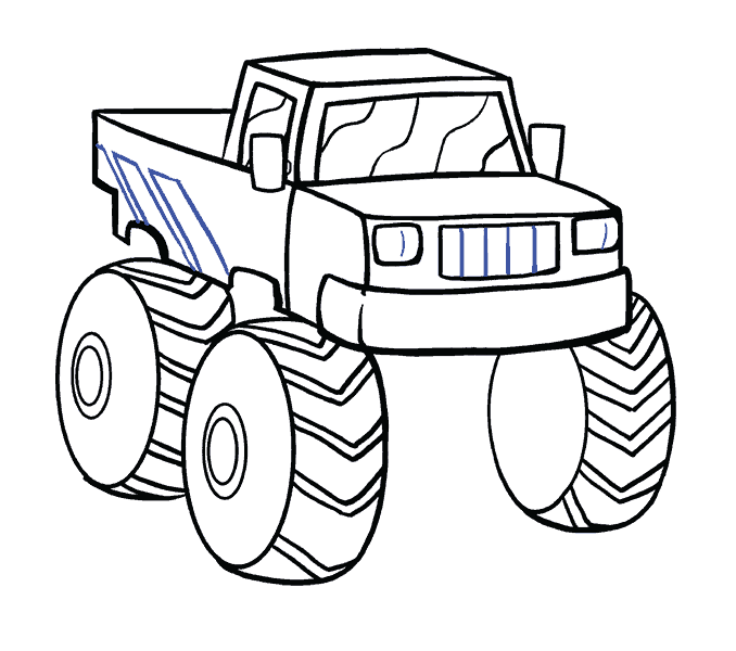 How to Draw Monster Truck: Step 16