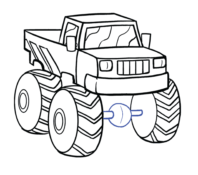 How to Draw Monster Truck: Step 17