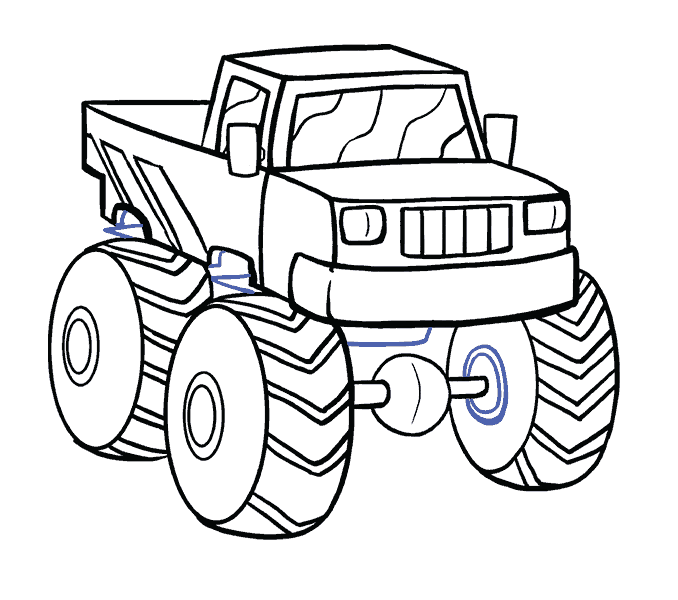 How to Draw Monster Truck: Step 18