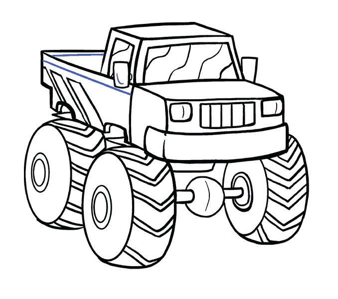 How to Draw Monster Truck: Step 19