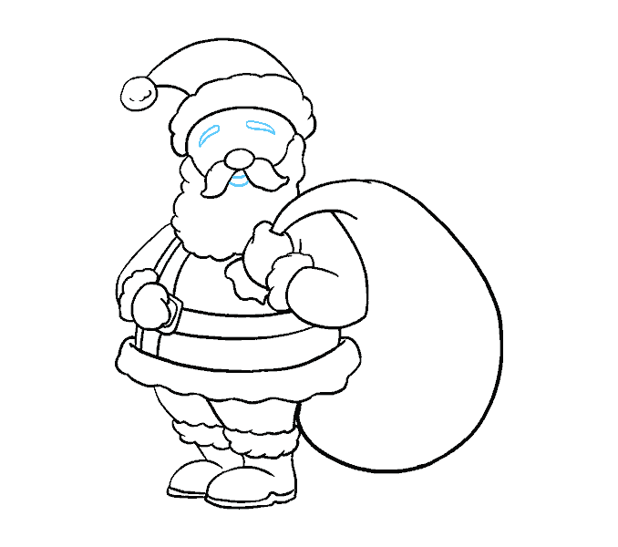 How to Draw Santa Claus: Step 18