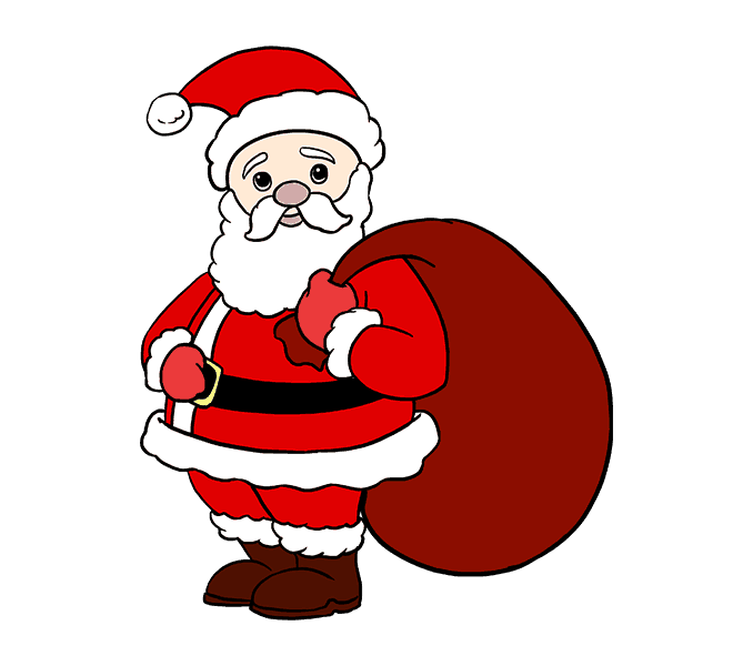 How to Draw Santa Claus: Step 20