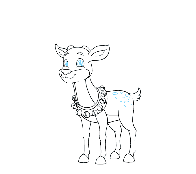 How to Draw Cartoon Reindeer: Step 18