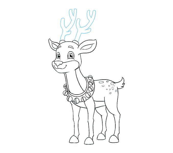How to Draw Cartoon Reindeer: Step 19