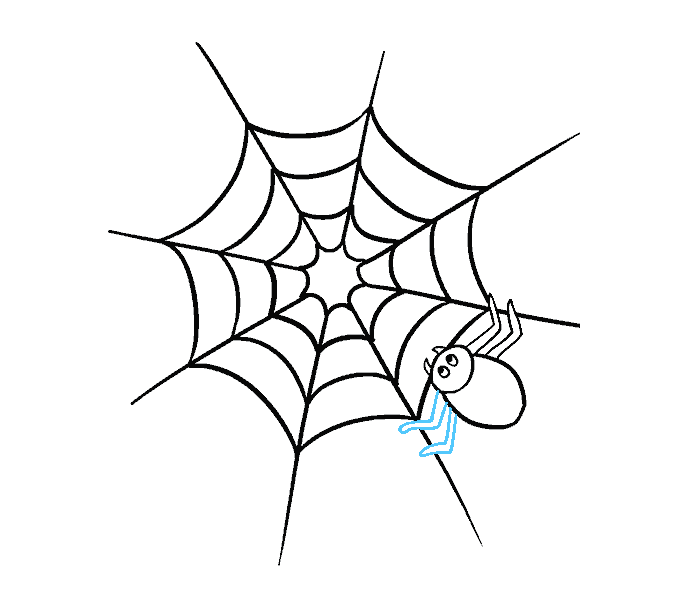 How to Draw Spider Web with Spider: Step 13
