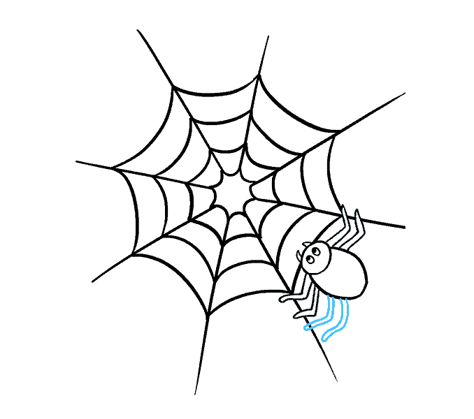 How to Draw Spider Web with Spider: Step 14