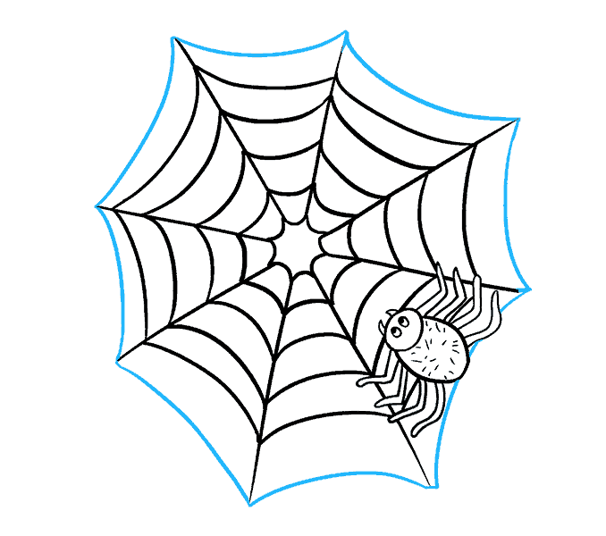 How to Draw Spider Web with Spider: Step 19