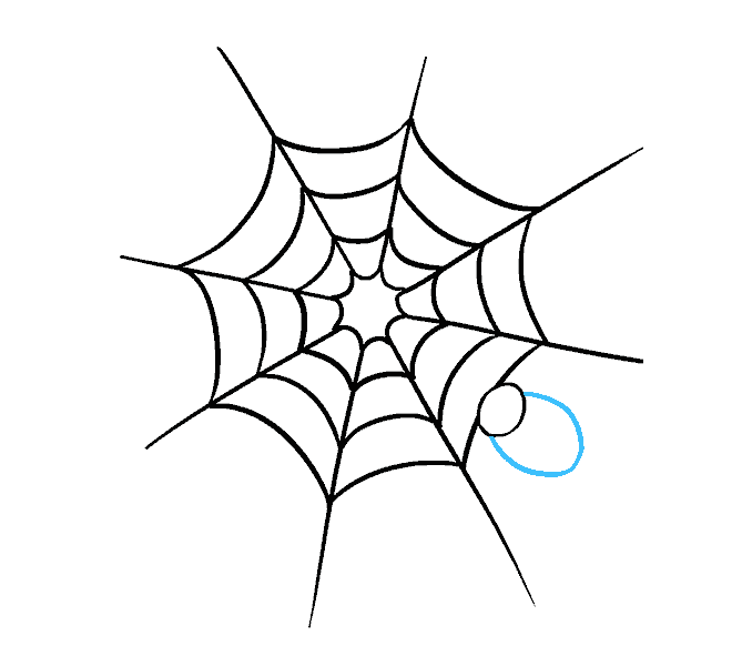 How to Draw Spider Web with Spider: Step 9
