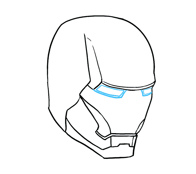 how to draw iron mans mask Step: 10