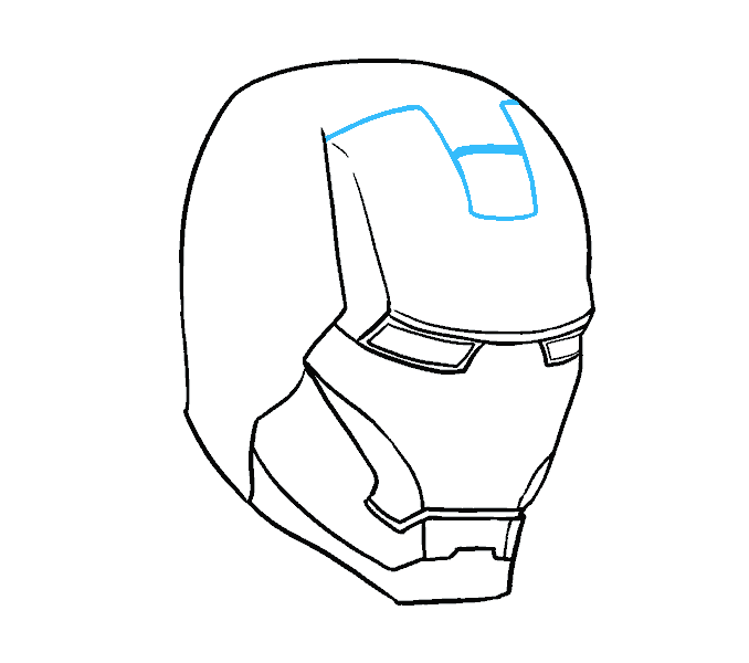how to draw iron mans mask Step: 11