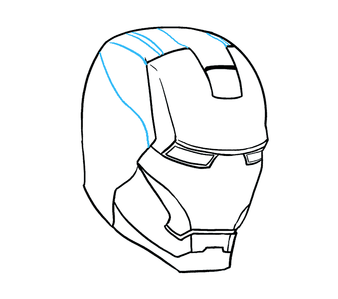 how to draw iron mans mask Step: 12