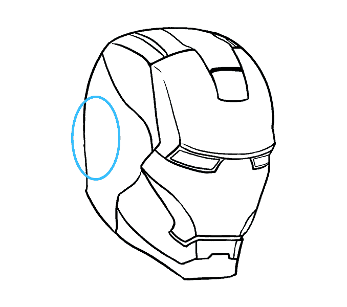 How to Draw Iron Man's Mask: Step 13