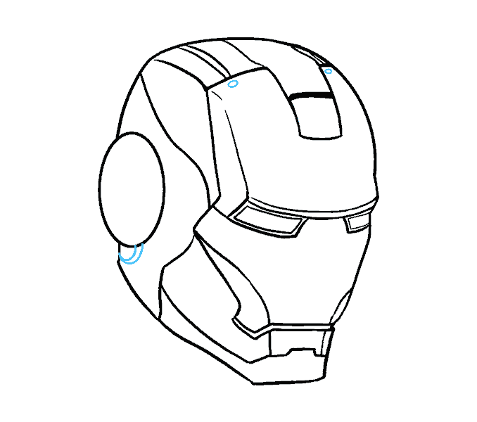 how to draw iron mans mask Step: 15