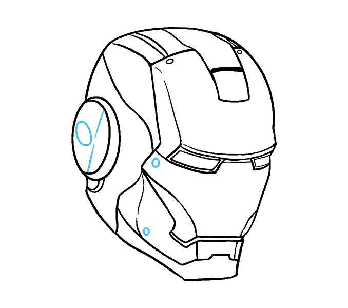 how to draw iron mans mask Step: 17