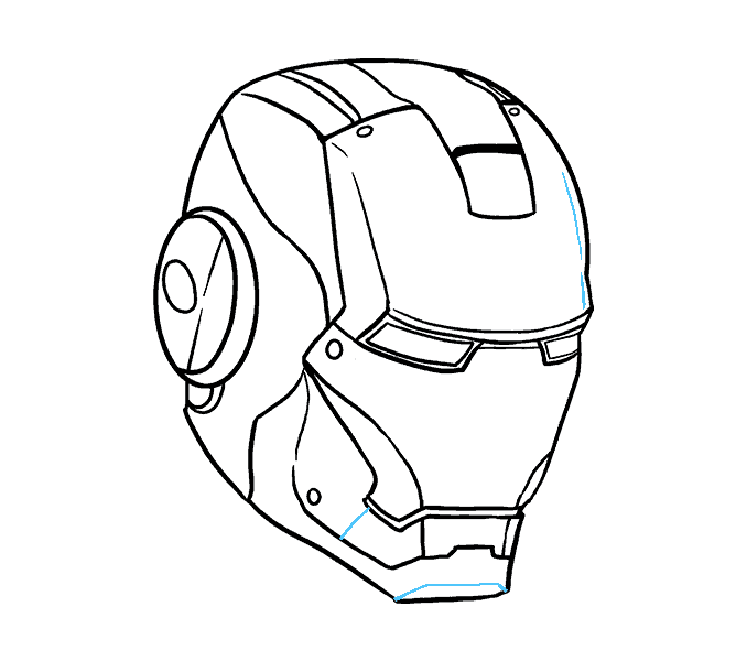 How to Draw Iron Man's Mask: Step 18