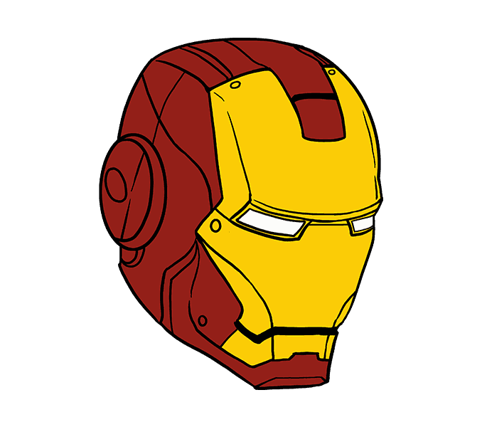how to draw iron mans mask Step: 20