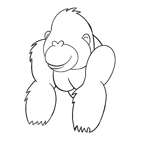 How to Draw Cartoon Gorilla: Step 12