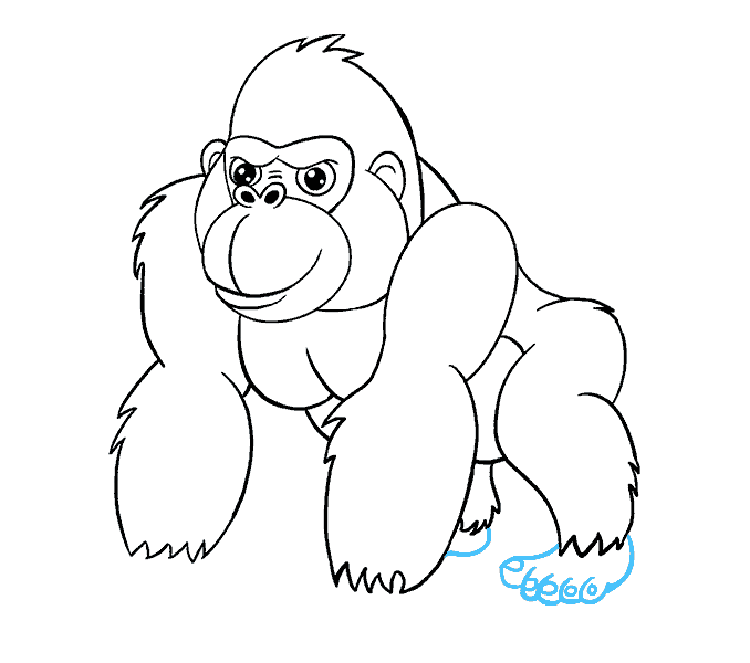 How to Draw Cartoon Gorilla: Step 17
