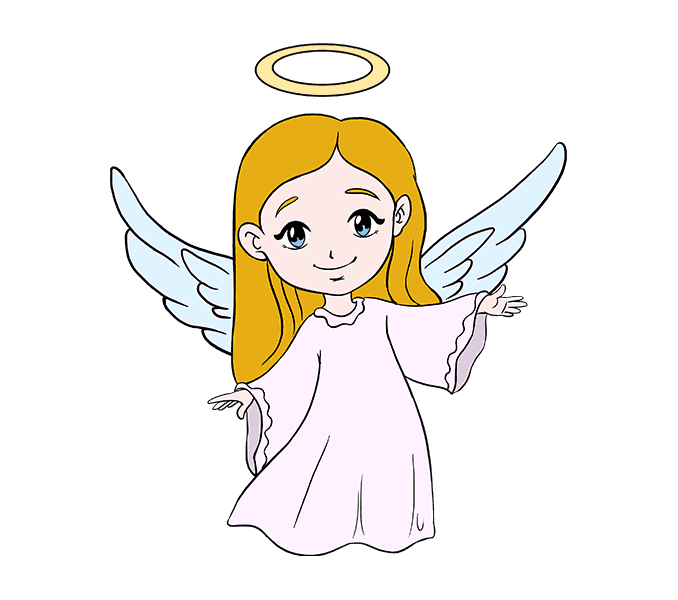 how to draw an angel Step: 20