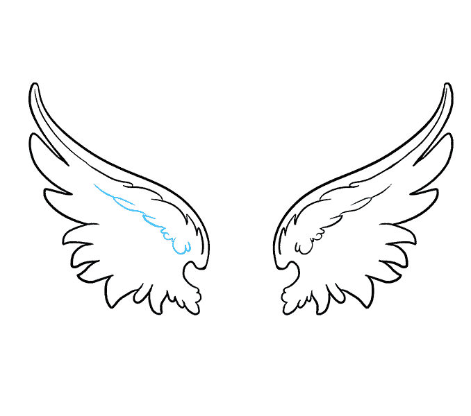 How to draw angel wings Step: 10