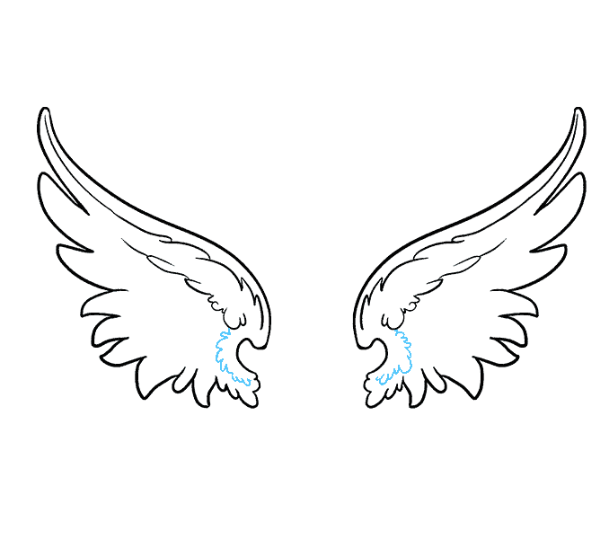 How to draw angel wings Step: 11