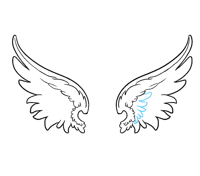 How to draw angel wings Step: 12