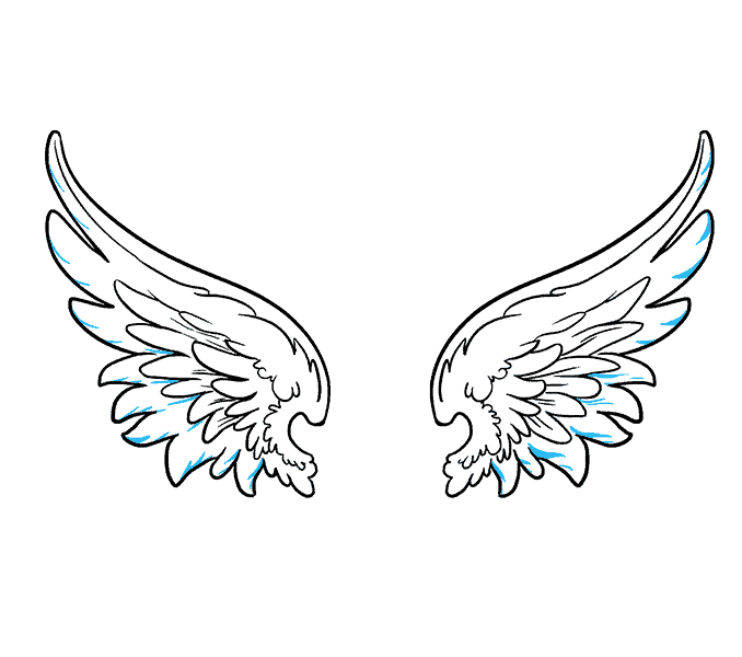 How to draw angel wings Step: 16