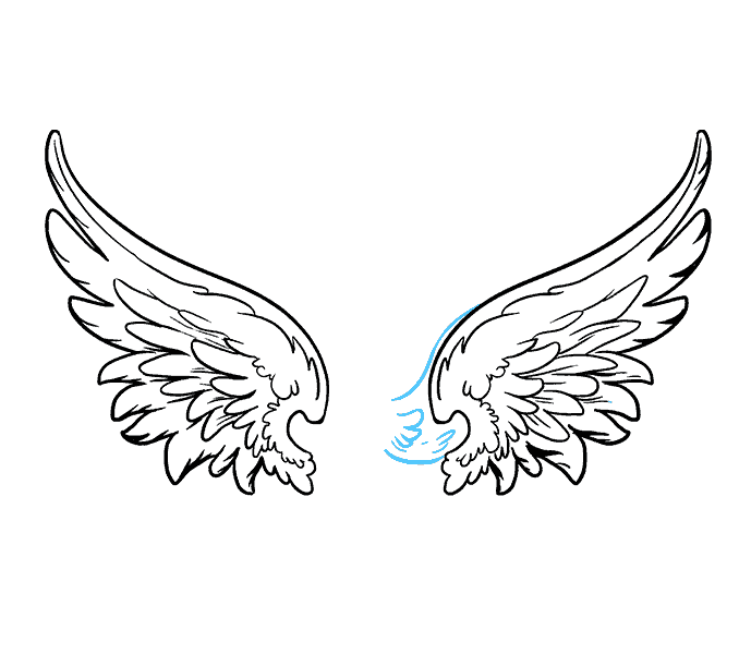 How to draw angel wings Step: 17