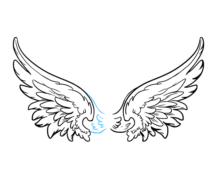 How to draw angel wings Step: 18