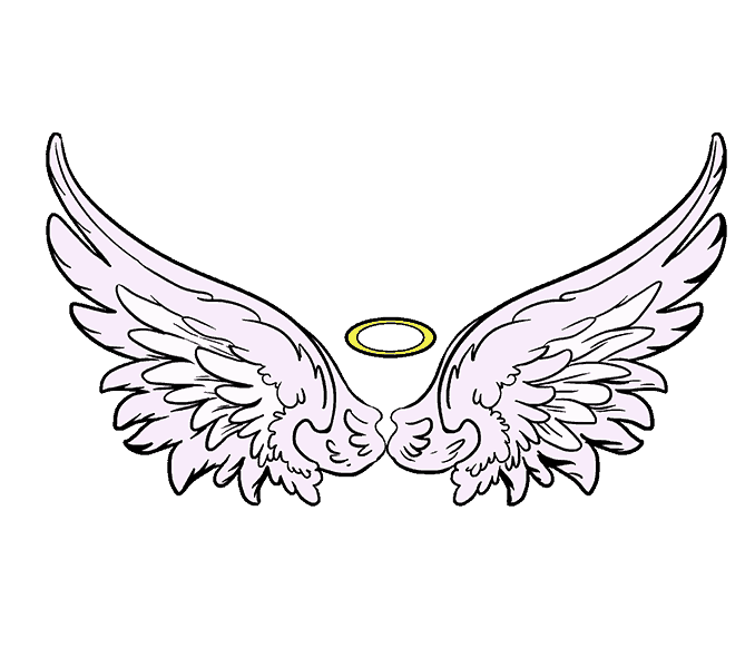 How to Draw Angel Wings: Step 20