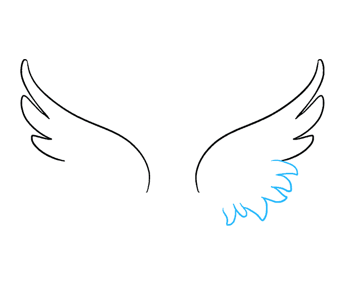 How to draw angel wings Step: 4