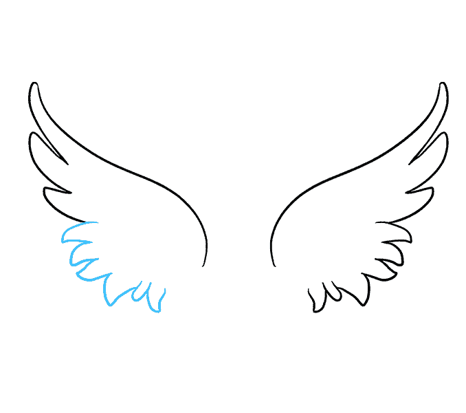 How to draw angel wings Step: 5