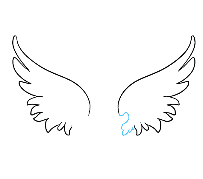 How to draw angel wings Step: 6