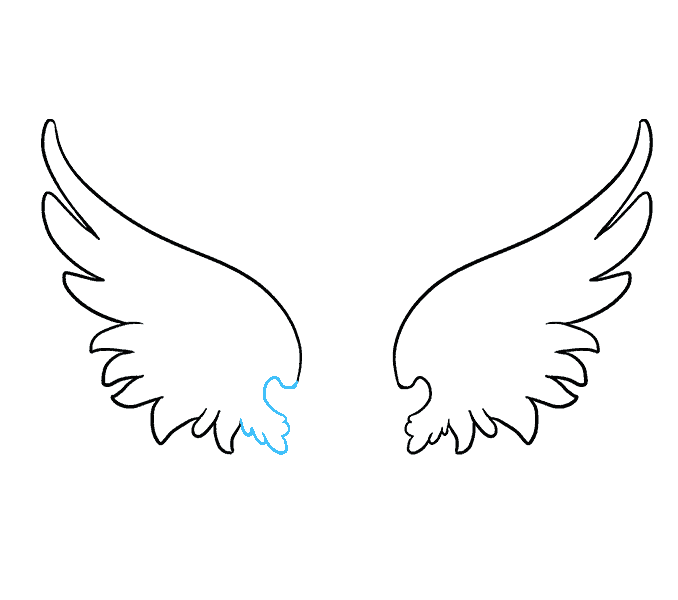 How to draw angel wings Step: 7