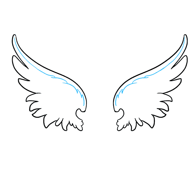 How to draw angel wings Step: 8