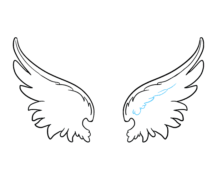 How to draw angel wings Step: 9