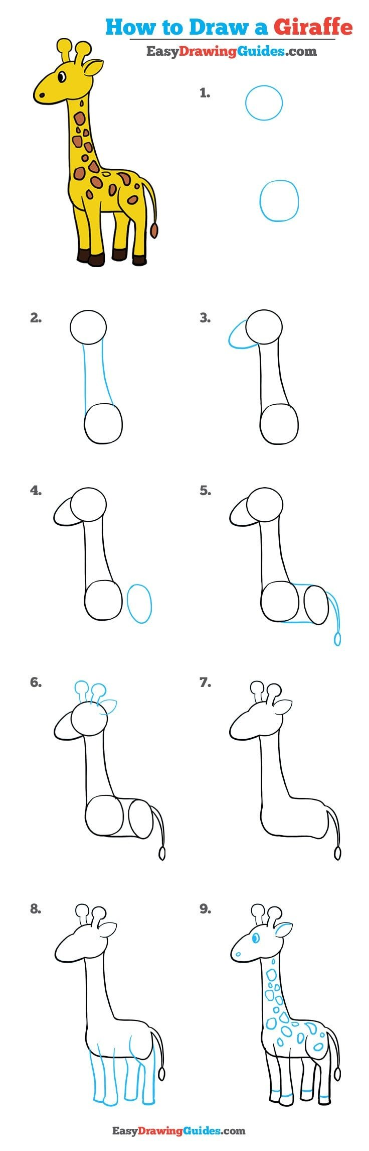 How To Draw A Giraffe Really Easy Drawing Tutorial