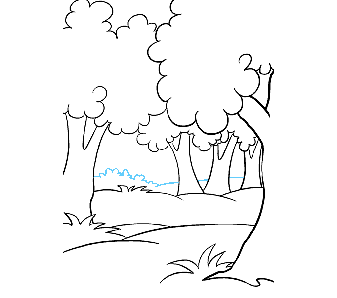 How to draw a cartoon forest Step: 14