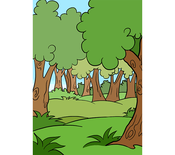 How to draw a cartoon forest Step: 20