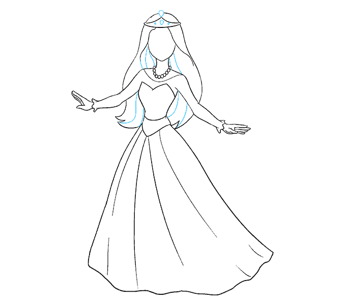How to Draw Cartoon Princess: Step 15