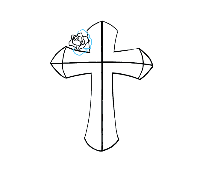 How to Draw Cross with a Rose: Step 11