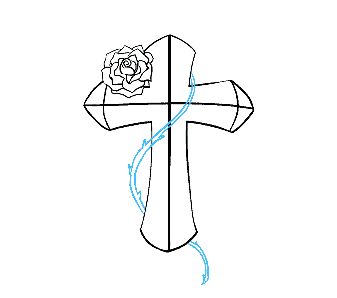 How to Draw Cross with a Rose: Step 15