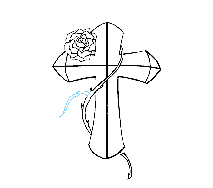 How to Draw Cross with a Rose: Step 16