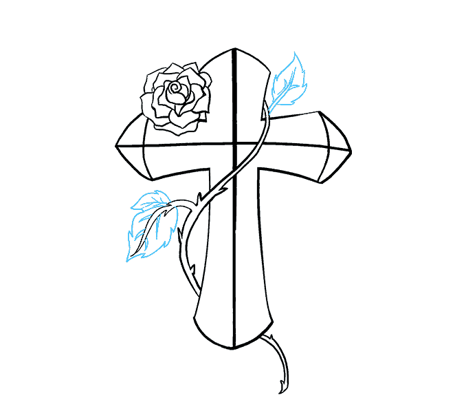 How to Draw Cross with a Rose: Step 17