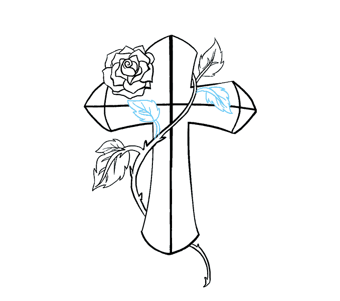 How to Draw Cross with a Rose: Step 18