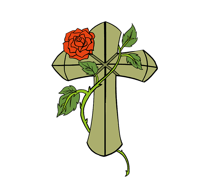 How to Draw Cross with a Rose: Step 20
