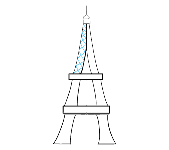 How to draw the eiffel tower Step: 13