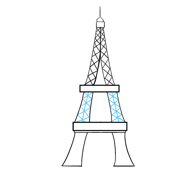 How to Draw Eiffel Tower: Step 15